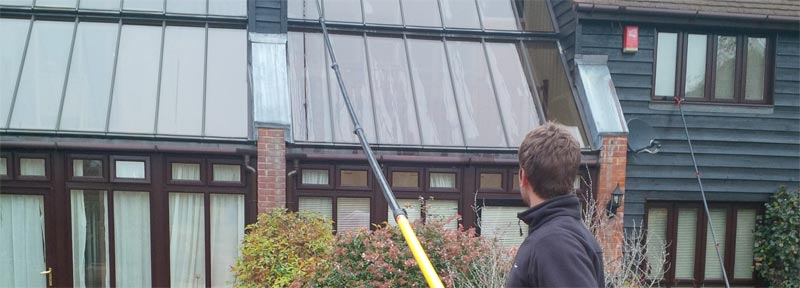 using reach & wash to clean the conservatory